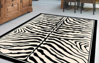 Large White Black Stripe Zebra Animal Print Rug 160x225