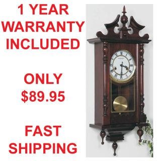 DAY GRANDFATHER WOOD WALL CLOCK SWINGING PENDULUM ANTIQUE STYLE CHIMES