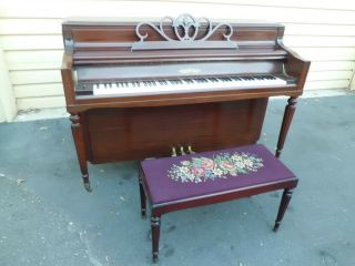 51080 CHICKERING ANTIQUE MAHOGANY PIANO WITH NEEDLEPOINT BENCH
