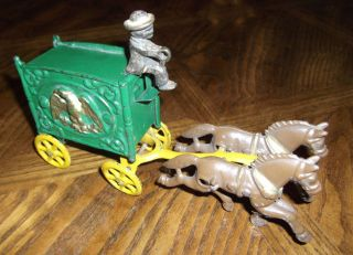 Antique Vintage Cast Iron Horse Drawn Wagon with Driver