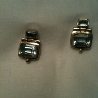 Antique Vintage Aqua Marine & Sterling Silver Earrings