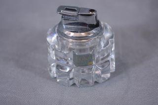 Vintage Mikasa Crystal Table Lighter Butane Germany Cigarette Clear