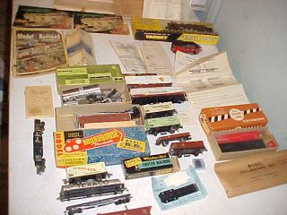 Antique HO train lot Engine cars parts boxes accessories track Ulrich