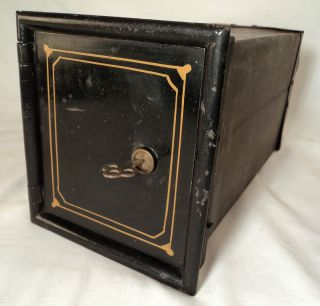 Strong Box For Antique Floor Safe Tin Lock Box & Key Vintage Old Bank