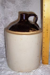 Antique Vintage Stoneware Crockery One Gallon Whiskey Jug Natural