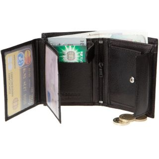 Bruno Antonini Mens Designer Black Real Leather Wallet Card Holder