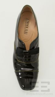 Anyi Lu Black Patent Leather And Gold Trim Lace Up Heels Size 40