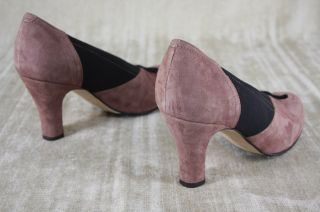 Anyi Lu Heart Pink Black Suede Stretch Pumps Size 36 5 6 5 $375 Bow