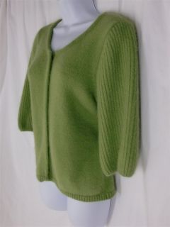 sz L ANN TAYLOR Sweater Apple Green Cropped Cardigan Fuzzy Angora