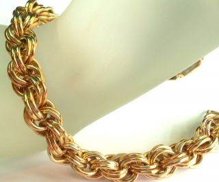 Vintage Twisted Gold Plated Chain Bracelet Estate Jewelry
