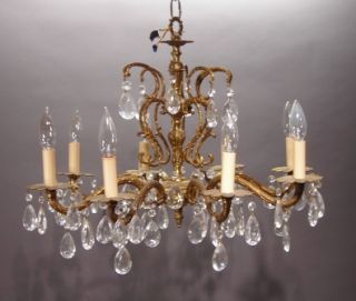 Antique Brass 8 Light Chandelier Crystal Prisms Light