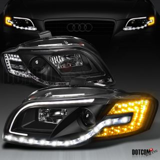 Fits 06 08 Audi A4 R8 Style LED Amber Turn Signal Black Projector