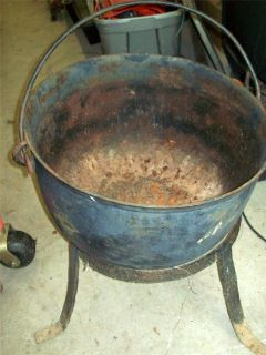Antique Very Large Cast Iron Camp Fire Kettle Cauldron