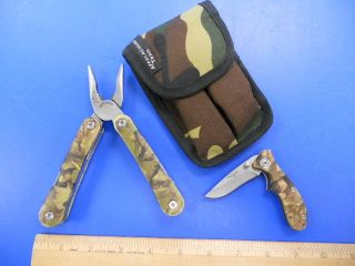 APPALACHIAN TRAIL MULTI FUNCTION TOOL AND KNIFE SET IN CAMO WITH NYLON