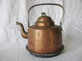 Antique Copper Swedish Peltiteos Helsinki Gooseneck Tea Water Kettle