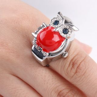 Creative Fashion Quartz Finger Stretch Ring Watch Animal Cover Multi