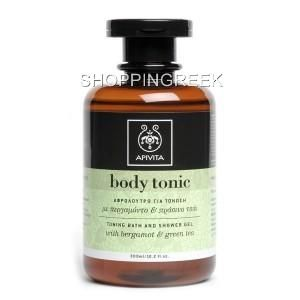 apivita body tonic toning bath shower gel with bergamot green tea