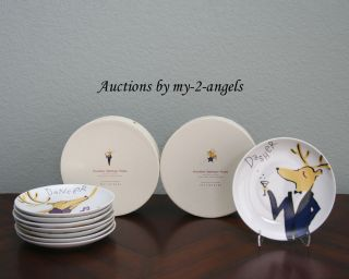Pottery Barn Christmas Graphic Reindeer Appetizer Plates ALL 8