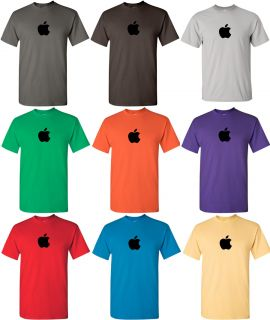 Apple Tshirt Computer Geek Shirt Mac Logo Tee Black Ink