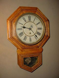 Antique Oak Waterbury Schoolhouse Key Wind Regulator Wall Clock
