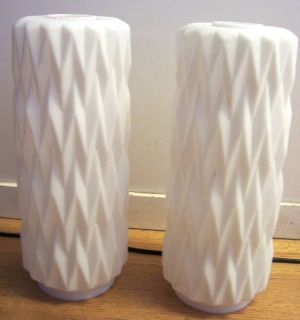 OLD ANTIQUE VINTAGE PAIR MILK WHITE MATTE GLASS RESTORATION LAMP BASE