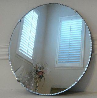 Antique European Petite Mini Scalloped Beveled Glass Mirror Plateau