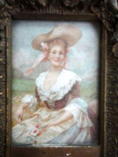 1800s antique victorian WALL MIRROR, FRAME, FASHION PRINT woman