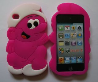 Apple iPod 4th Gen Smurf Pink Silicone Rubber Gel Cartoon Case Cover