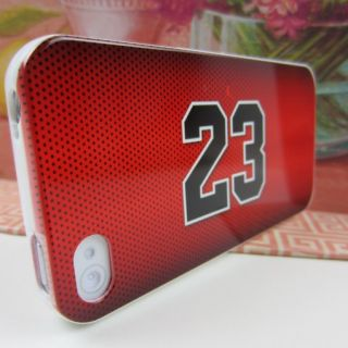 Apple iPhone 4 4S Jordan 23 Red Jersey Rubber Silicone Skin Case Phone