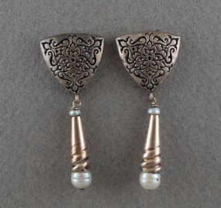 Vintage Museum Sterling Silver Pearl Earrings