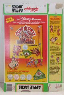 Kelloggs Apple Jacks Cereal Box 1991 Chip Dale Stamper OFFER on Back