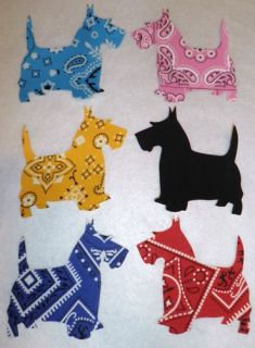 Colored Bandana Scotty Dog Iron on Cotton Fabric Applique Quilt Kit