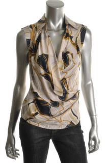 Anne Klein New Multi Color Silk Tango Wrap Cap Sleeves Blouse Top 12