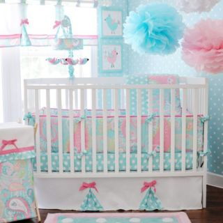 Pixie Baby Crib Bedding Set in Aqua Baby Girl Bedding 4 Piece