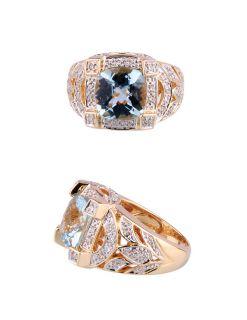 Estate 14k Yellow Gold Aquamarine Diamond Cocktail Ring