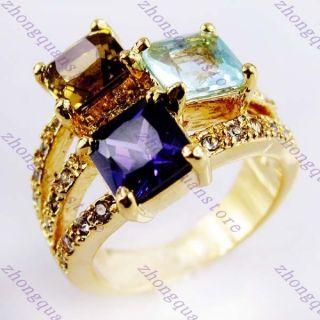 Jewellery Amethyst Tanzania Aquamarine Ladys 10KT Yellow Gold Filled