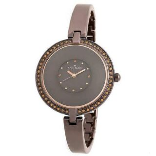 Anne Klein Polished Brown IP Metal Band Crystal Dial Womens Watch 10