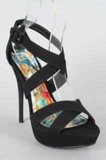 Anne Michelle Dynamite 79 Black Criss Cross Open Toe Sandal