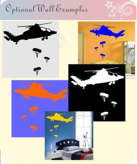 PARACHUTE WALL STICKER ARMY SAS APACHE ARMY SOLDIER BOYS PICTURE 9