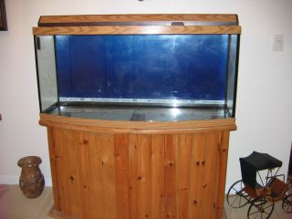 46 gallon bow front fish aquarium with stand for Bow fish tank