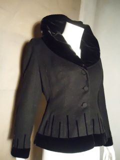 Vtg 40s Lilli Ann Annette Petite Black Velvet Dress Jacket Coat w REM