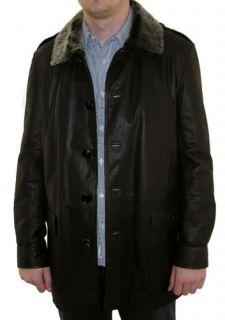 BNWT AQUASCUTUM Mens Dark Brown 3 4 Length 100 Leather Coat Jacket Lge