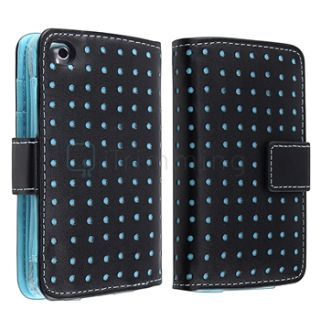For iPod Touch 4 4th G Gen Black Blue Dot Leather Wallet Case Diamond