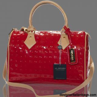 Arcadia Italian Designer Red Monogram Vernis Leather Speedy Purse Bag
