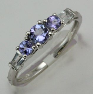 item name tanzanite and aquamarine white gold ring