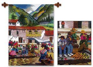 Andean Village Peru Wool Tapestry Folk Wall Decor Art