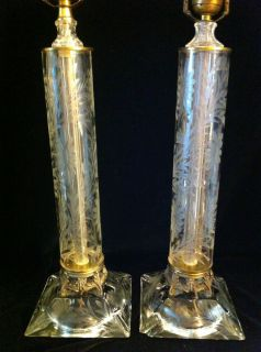 Pair of Antique Etched Crystal Column Lamps