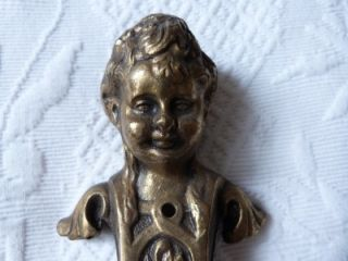 RARE Antique French Chateau Bronze Cherub Angel Door Knob Pull