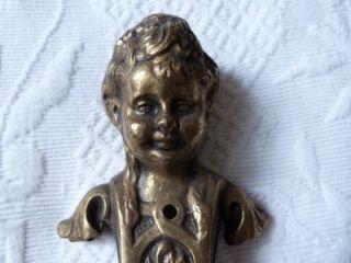 RARE Antique French Chateau Bronze Cherub Angel Door Knob Pull
