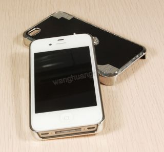 Luxury Bling Diamond Apple Logo Hard Skin Cover Case for iPhone 4 4G